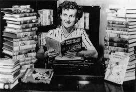 Mildred Benson with her Nancy Drew books