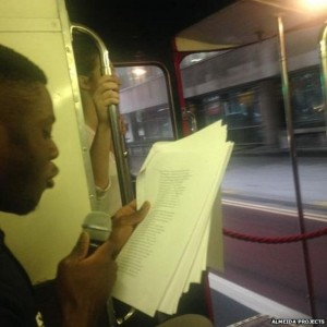 Marco Brondon reads on the 19 bus.