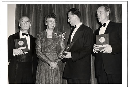Eleanor Roosevelt, handing out the National Book Awards in 1950