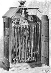 A view of the Kinetoscope that shows the inner workings of the film through the machine